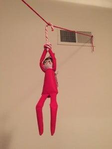 Elf on the Shelf Zip Lining